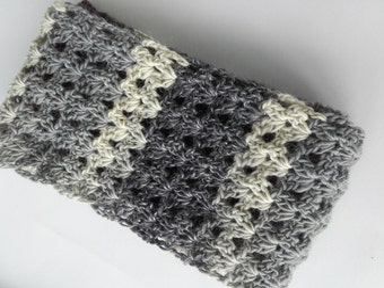 Neckwarmer, stripe scarf, eternity scarf, loop scarf, circle scarf, spring scarf, summer scarf, infinity scarf, wool cowl, long gray scarf