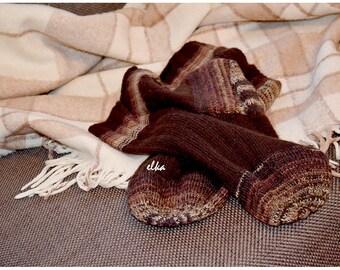 "Knitted socks Bitter Chocolate / Носки вязаные ""Горький шоколад"""