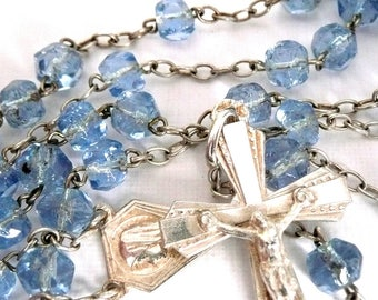 Vintage Small French Silver Rosary, Small Vintage Blue Glass Rosary, Vintage Silver and Glass Rosary