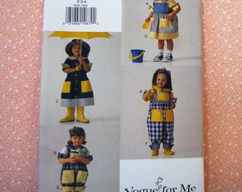 Vintage Vogue Sewing Pattern #9049, Girls Dress, Top, Jumper and Overalls, Sizes 2, 3, 4, Vogue for Me, UNCUT