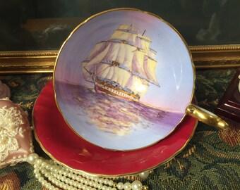 Aynsley Clipper Ship tea cup & saucer.