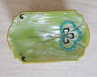 Vintage Shamrock Trinket Box with Scalloped Edges in Light Green with Rhinestones