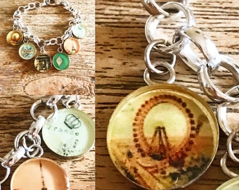 Non-allergic metal with resin charms bracelet Paris with pictures of Paris