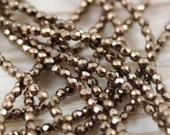 LAST!!! 100pcs 2mm Bronze Faceted Fire Polished Czech Glass Beads, tiny fire polished beads