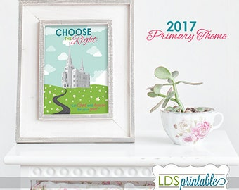 PRP17004 - 2017 PRIMARY THEME Choose The Right Temple CTR Printable Multiple Sizes 3x4 4x6 5x7 8x10