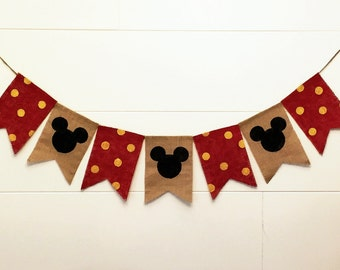 Mickey Mouse Burlap Banner,Mickey Mouse Banner,Mickey Mouse Birthday Banner,Mickey Mouse High Chair Banner,Mickey Mouse Photo Prop