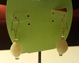 White Glass Beaded Earrings