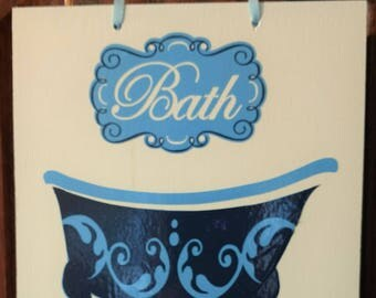 Bath Sign - Blues and White