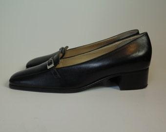 Celine Black Vintage Loafer Pumps Made in Italy Size 36.5 / 7