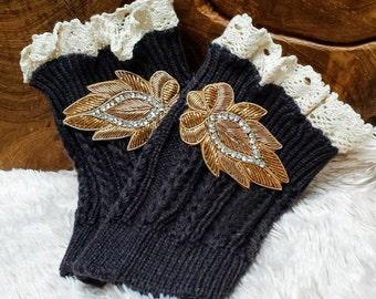 Bronze Leaf Cable Knit Boot Cuff;  Unique Boot Topper; Black Lace Boot Cuff; Lace Boot Accessories; Lace Boot Cuff; Unique Boot Cuff Set