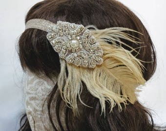 20's Style Gatsby Flapper Headband; Great Gatsby Inspired Headpiece; Elastic Flapper Headband; Rhinestone 1920 Headband; Feather Headband