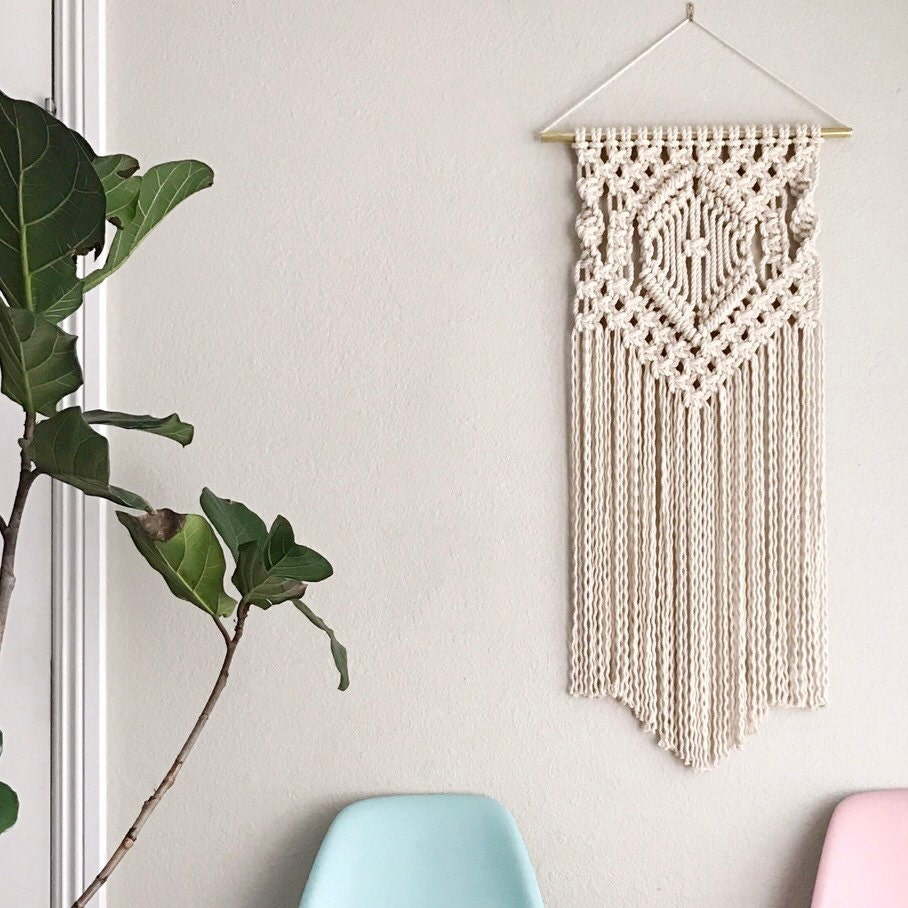Macrame patterns macrame pattern macrame wall by reformfibers for Hanging wall decor