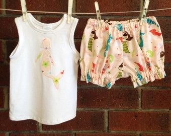 Baby girl mermaid outfit, baby girl outfit,  baby sets baby girl, tank top and diaper cover, 3-6 mths, baby girl sets