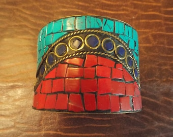 """Wide Band Mulit Color Jewelry Copper Tone, Large Piece 9"""" Art Supplies, Vintage Jewelry, Red, Coral, Blue, Turquoise, gift under 30"""