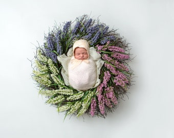 Instant Download newborn wreath! GORGEOUS contrast and detailing! perfect for easter or spring!