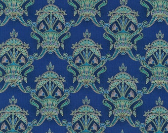 Valley of the Kings 2 Blue Damask fabric in the Jewell Colorway