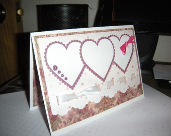 5x7 White Vintage Trio heart Handcrafted card