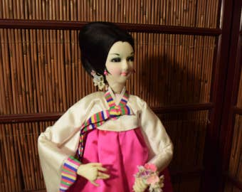 Large Vintage Korean Doll Pink Hanbok 22 Inches Tall