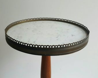 Marble table - nightstand - bedside table - marble top table - white marble furniture - side table - small table