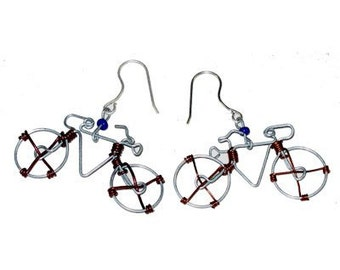 Bicycle Earrings Handcrafted From Recycled Telephone Wire