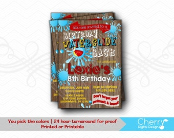 Fun Waterslide Birthday Bash Invitations.  PRINTABLE or PRINTED Birthday Party Invitation.  Summer  Water slide invite.  Red, Blue, Yellow.