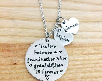 grandmother gifts, grandma gifts, grandma jewelry, personalized grandma gift, the love between a grandma, hand stamped keychain, mothers day