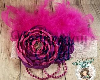 Hot pink and purple handmade flowers lace elastic headband