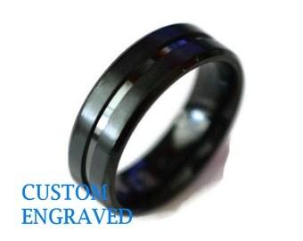 Black Titanium Custom Engraved Band - Ring - Titanium Black Ring - Personalized Titanium Ring - Custom Engraved Titanium Ring - Black Band
