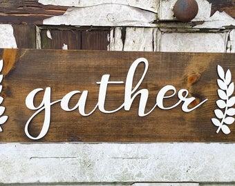 Gather sign, gather wall decor, farmhouse signs