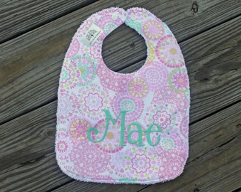 Infant/Toddler Bib- Monogrammed, monogrammed bib, monogrammed burp cloth, bib and burp cloth set