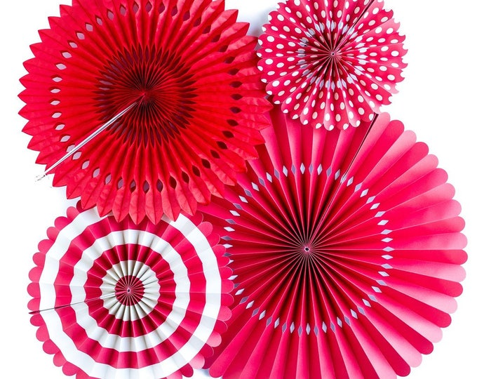Party Fans in Red, Red Pom Wheel, Red Valentines Rosettes, Paper Medallions, Red and White Paper Fans, Paper Pinwheel