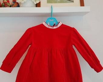 1990s Vintage toddler dress. Red velvet dress. 24 months. Made in Canada
