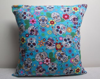 """Mexican Day Of The Dead Gothic Cushion Cover Pillow Cover Turquoise 16"""" Ready To Ship"""