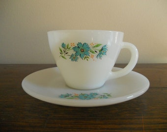 Fire King Blue Flower Tea Cup and Saucer