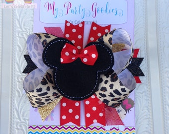 Leopard Hair Bow,Leopard Minnie Mouse Bow,Animal Kingdom,Leopard Print Bow,Red Leopard bow
