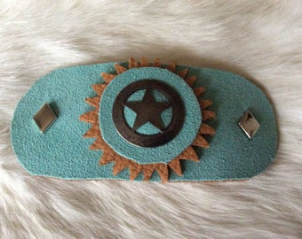 Western Barrette with Star Concho, Handmade Leather Barrette Clip, Gift for Horse Lovers, Rodeo Wear, Made in Canada