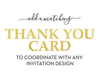 Add a Matching Thank You Card - Matching Add-on DIY Printable **Digital File Only