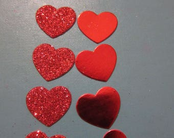 10 Red heart die cuts, 2cm across