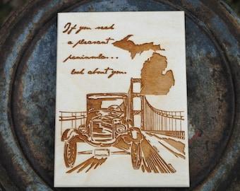 Michigan Wood Art Print Postcard Size
