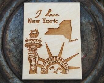 New York Wood Art Print Postcard Size