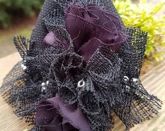 Wrist Cuff - Wrist Warmer - Fabric Bracelet - Gothic Wrist Cuff - Darkstyle - Gemstone Wrist Cuff - Gothic - Handmade - Hematite - Flowered
