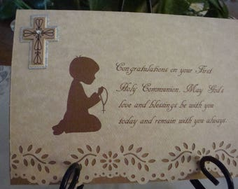 First Holy Communion, 1st Communion, Religious Event, silhouette of boy praying, tan and brown, greeting card, handmade