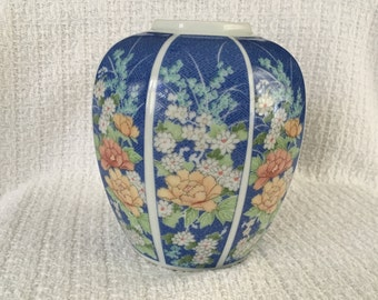Takahashi Echo Ginger Jar, Hand Painted Ginger Jar, Asian Floral Ginger Jar, 8 Sided, 1980s, Takahashi Vase, Ginger Jar Vase, Japan