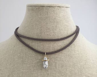 Grey suede choker choker with marble pendent