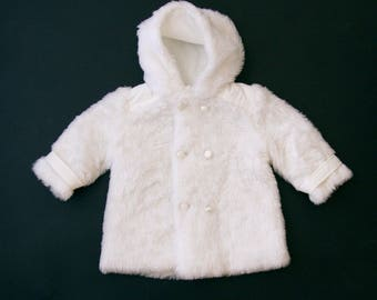 French 70's white faux fur double breasted baby spring jacket with hood 6 months