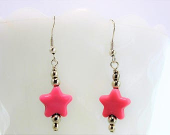 Pink Star Earrings, Silver Earrings, Dangle Earrings, Symbol of Goodness, Symbol of Truth, Native American Made, Cherokee Made #E5
