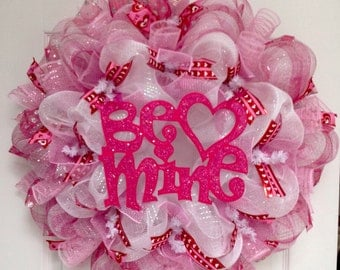 Valentines Day Be Mine Glittering Pink Handmade Deco Mesh Wreath