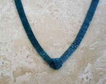 Deep Teal Hex Bead Peyote Necklace