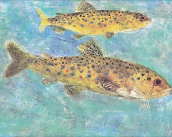 Trout fish colourful 60's mid century vintage children's illustration retro nursery decor Brian Wildsmith 8.5x11 inches