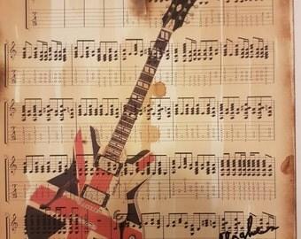 Oasis, Don't look back in anger, guitar print, sheet music art work , wall art, home decor, song lyrics, A4/A3